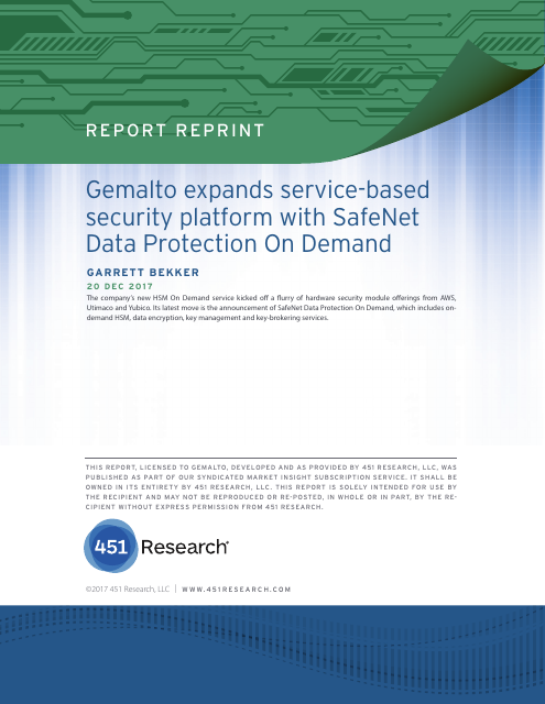 image from Gemalto Expands Service Based Security Platform With SafeNet Data Protection On Demand