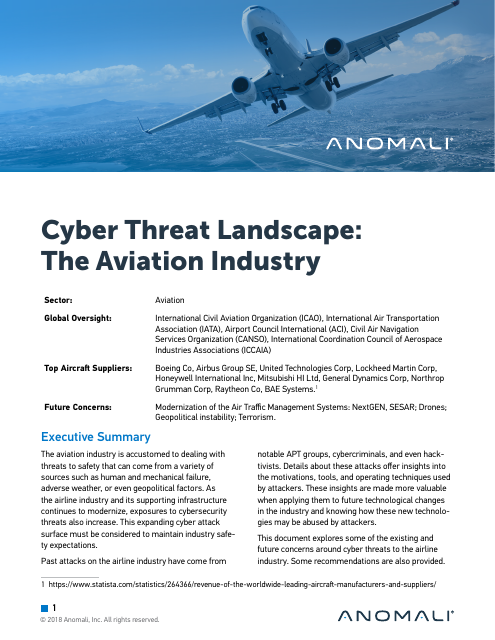 image from Cyber Threat Landscape: The Aviation Industry