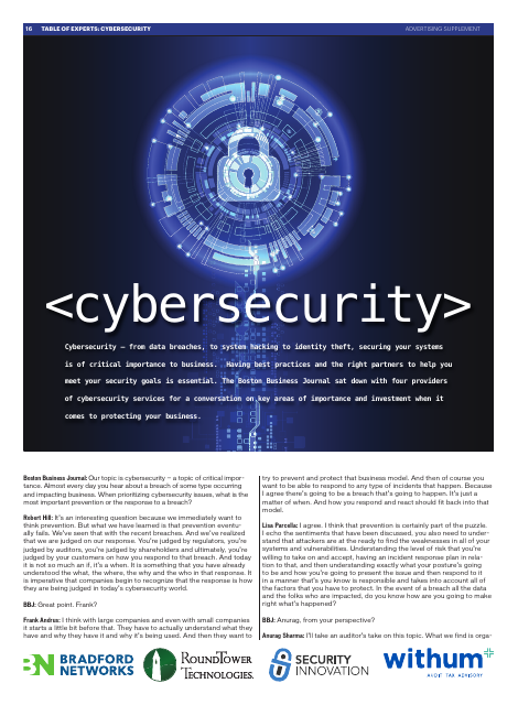 image from Table Of Experts: Cybersecurity