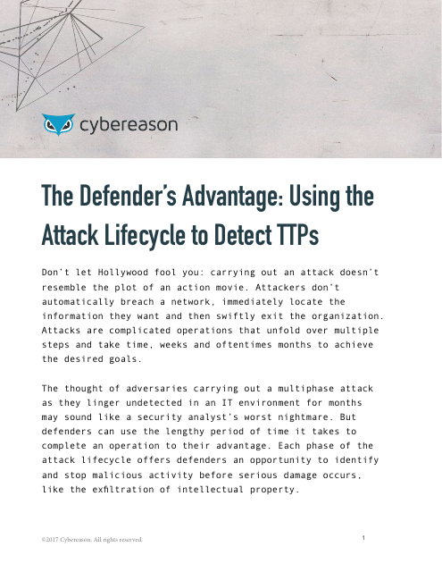 image from The Defender's Advantage: Using the Attack Lifecycle to Detect TTPs