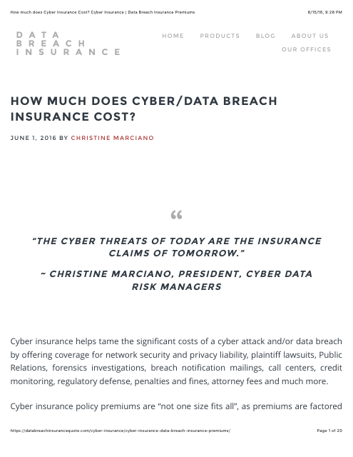 image from How much does Cyber/Data Breach Insurance Cost?