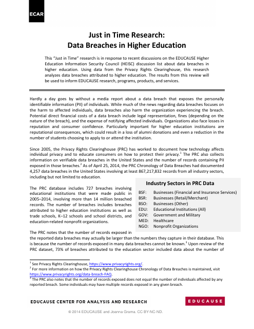 image from Just in Time Research: Data Breaches in Higher Education