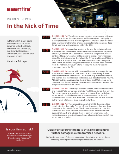 image from Incident Report: In The Nick Of Time