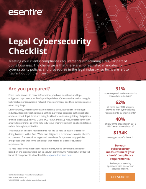 image from Legal Cybersecurity Checklist