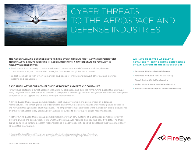 image from Cyber Threats To The Aerospace And Defense Industries