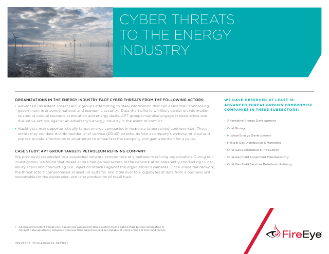 image from Cyber Threats To The Energy Industry