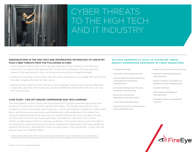 image from Cyber Threats To The High Tech And IT Industry