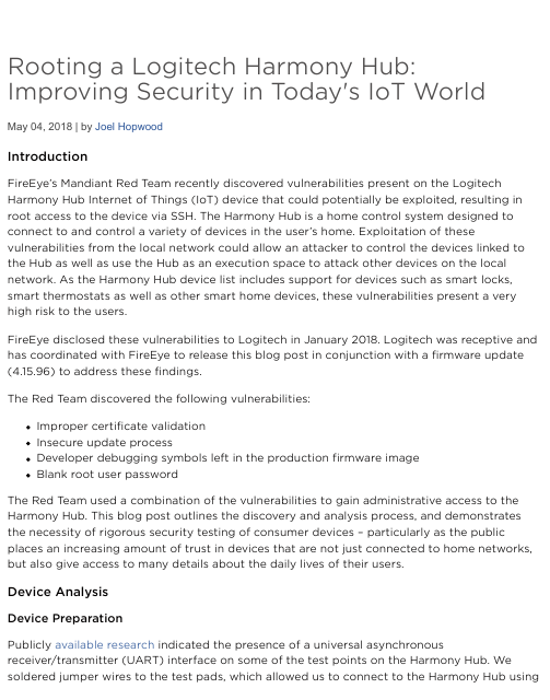 image from Rooting A Logitech Harmony Hub:Improving Security In Today's IoT World