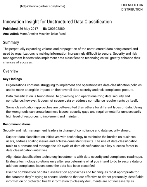 image from Innovation Insight For Unstructured Data Classification
