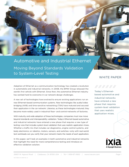 image from Automotive And Industrial Ethernet: Moving Beyond Standards Validation To System Level Testing