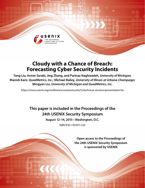 image from Cloudy With A Change of Breach: Forecasting Cyber Security Incidents