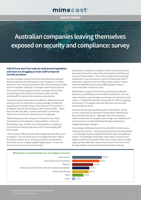 image from Australian Companies Leaving Themselves Exposed On Security And Compliance:Survey