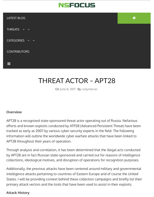 image from Threat Actor - APT28