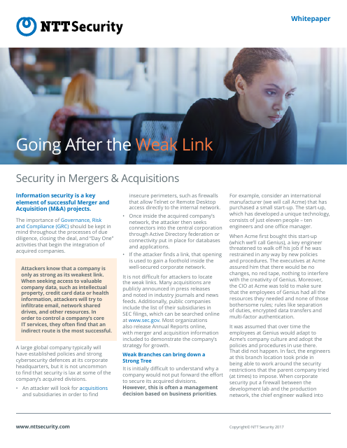 image from Going After The Weak Link: Security In Mergers & Acquisitions