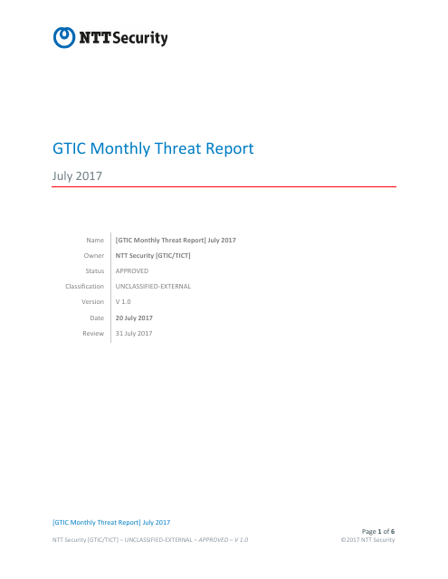 image from GTIC Monthly Threat Report July 2017