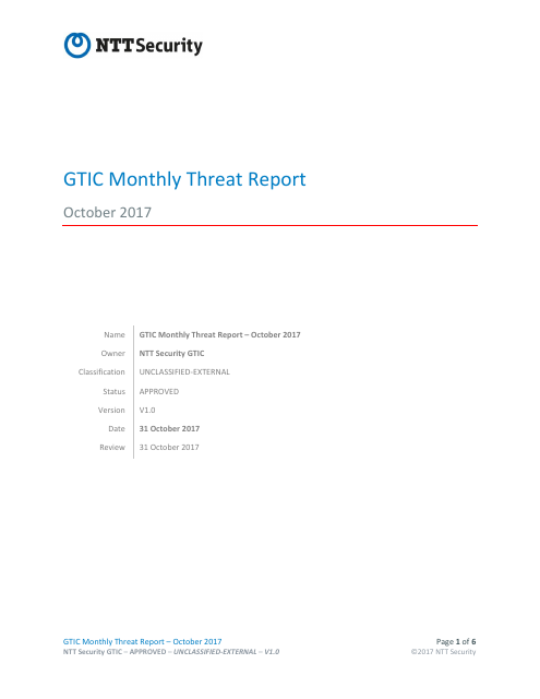 image from GTIC Monthly Threat Report October 2017