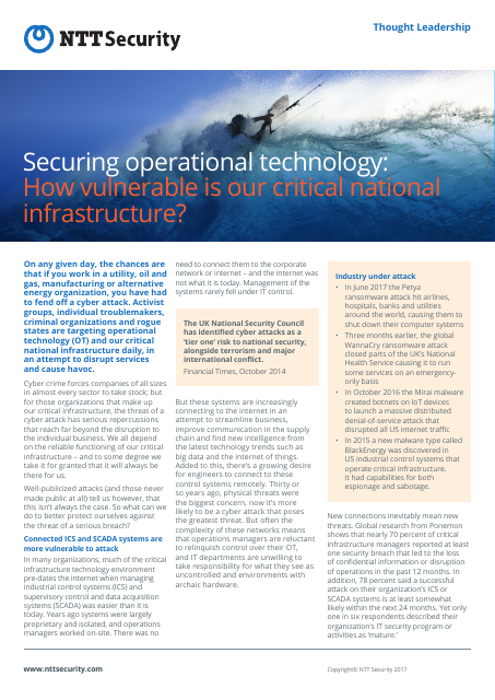 image from Securing Operational Technology: How Vulnerable Is Our Critical National Infrastructure