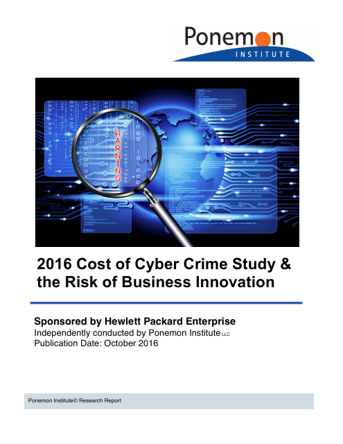 image from 2016 Cost of Cyber Crime Study & the Risk of Business Innovation