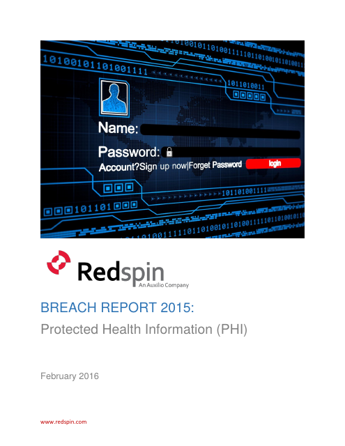 image from BREACH REPORT 2015: Protected Health Information