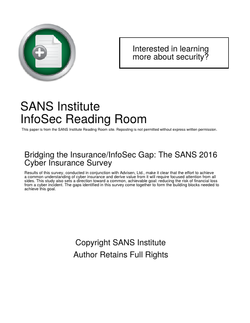 image from Bridging the Insurance/InfoSec Gap: The SANS 2016 Cyber Insurance Survey