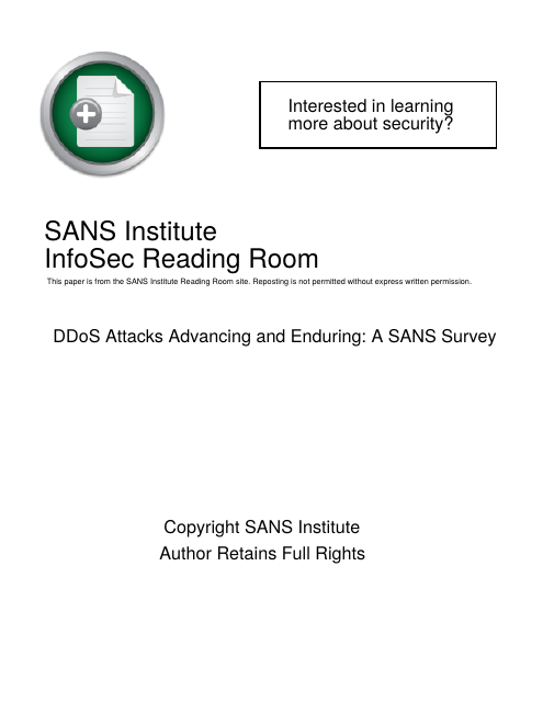 image from DDoS Attacks Advancing and Enduring: A SANS Survey