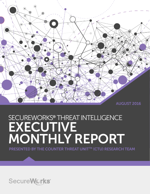 image from SecureWorks Threat Intelligence Executive Monthly Report August 2016