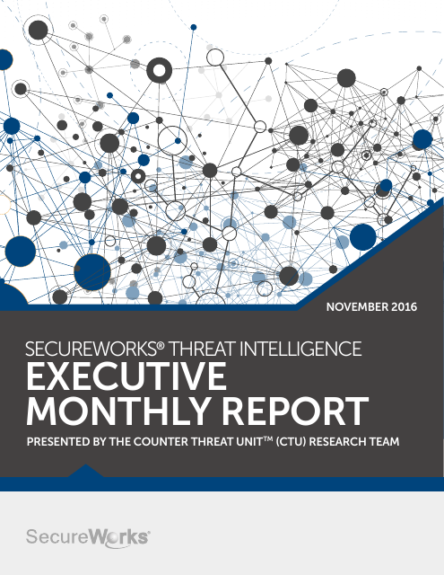 image from SecureWorks Threat Intelligence Executive Monthly Report November 2016
