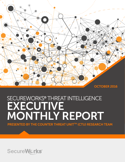 image from SecureWorks Threat Intelligence Executive Monthly Report October 2016