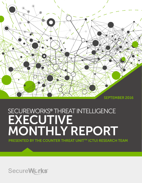 image from SecureWorks Threat Intelligence Executive Monthly Report September 2016