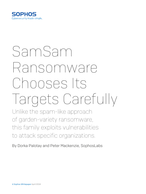 image from SamSam Ransomware Chooses Its Targets Carefully