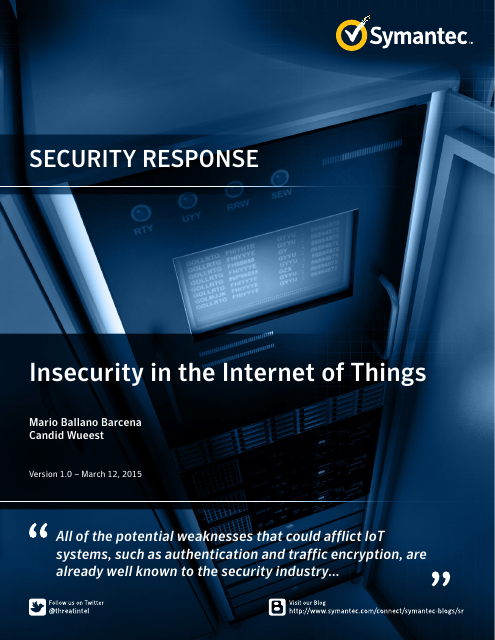 image from Security Response: Insecurity in the Internet of Things