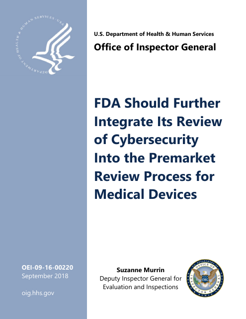 image from FDA Should Further Integrate Its Review of Cybersecurity Into the Premarket Review Process for Medical Devices