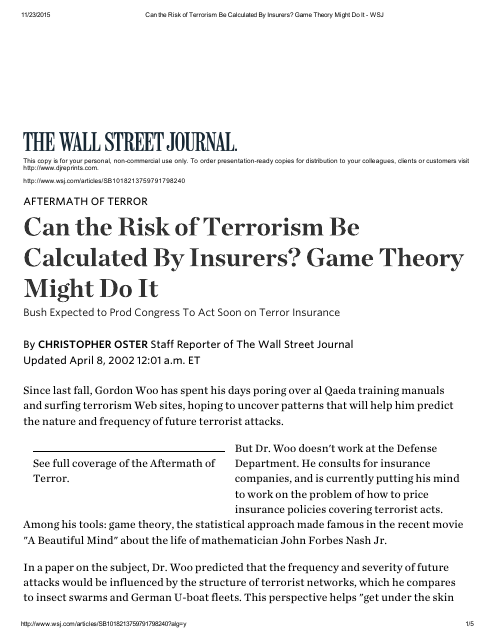image from Can The Risk Of Terrorism Be Calculated By Insurers