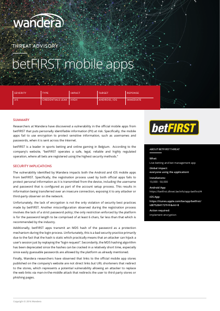 image from Threat Advisory: betFIRST mobile apps