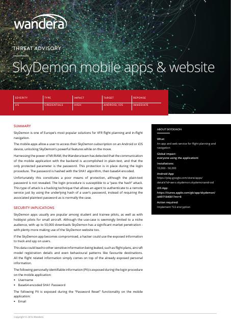 image from Threat Advisory: SkyDemon Mobile Apps & Website