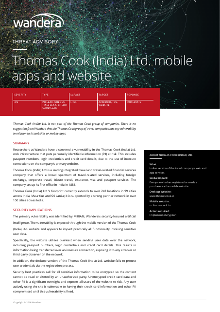 image from Threat Advisory: Thomas Cook (India) Ltd. Mobile Apps And Website