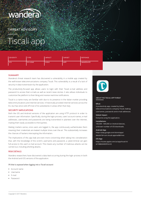 image from Threat Advisory: Tiscali App
