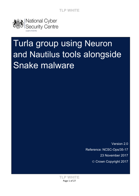 image from Turla group using Neuron and Nautilus tools alongside Snake malware
