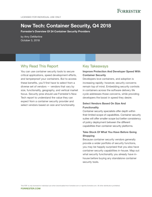 image from Now Tech: Container Security, Q4 2018