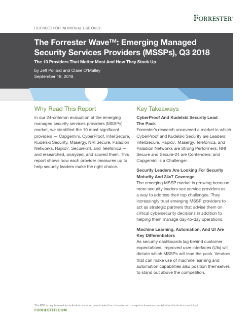 image from The Forester Wave: Emerging Managed Security Services Providers (MSSPs), Q3 2018