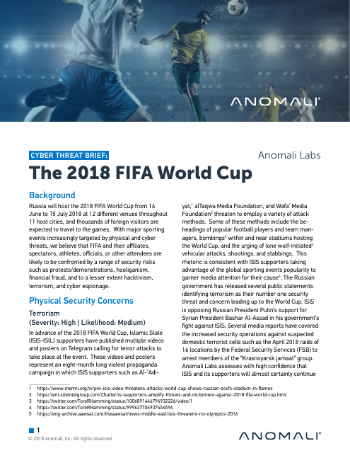 image from Cyber Threat Brief: The 2018 FIFA World Cup