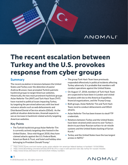 image from The Recent Escalation Between Turkey And The U.S. Provokes Response From Cyber Groups