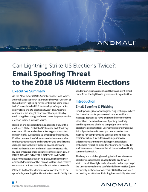 image from Can Lightning Strike US Elections Twice?: Email Spoofing Threat To The 2018 US Midterm Elections