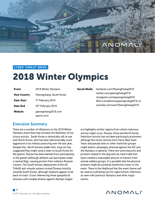 image from Cyber Threat Brief: 2018 Winter Olympics
