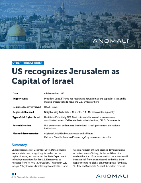 image from Cyber Threat Brief: US Recognizes Jerusalem As Capital Of Israel