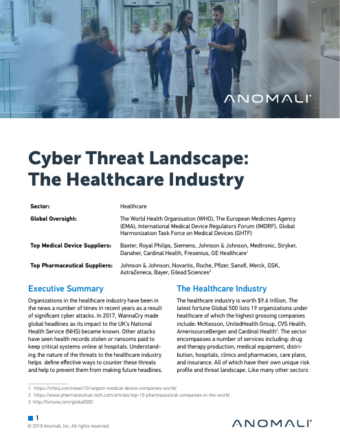 image from Cyber Threat Landscape: The Healthcare Industry