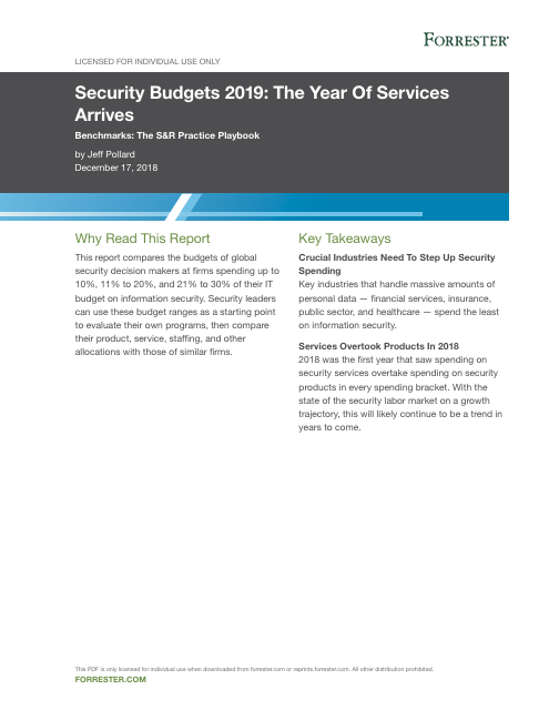 image from Security Budgets 2019: The Year Of Services Arrives