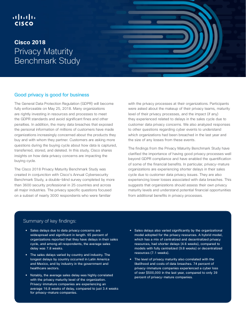 image from Cisco 2018 Privacy Maturity Benchmark Study