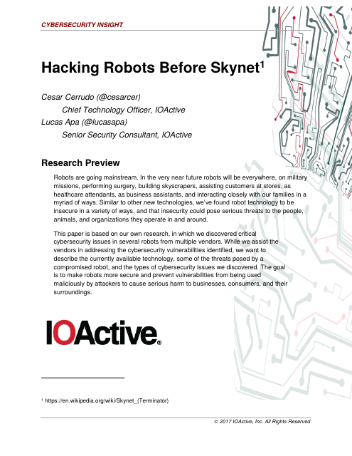 image from Hacking Robots Before Skynet