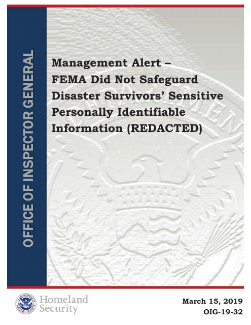 image from Management Alert - FEMA Did Not Safeguard Disaster Survivors' Sensitive Personally Identifiable Information (REDACTED)